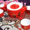 供应私家定制皇家釉瓷茶具礼品竹报平安