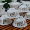 供应14头玉瓷山水功夫茶具陶瓷整套茶具订做,英福茶具