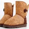 供应新款 雪地靴厂家批发 豹纹5803 真皮中筒 潮流棉靴