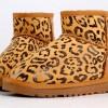 供应5854雪地靴厂家 批发代发 女款典雅大豹纹短款 真皮 棉靴