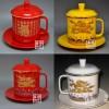 供应景德镇中国红陶瓷茶杯,红金龙茶杯厂家,陶瓷茶杯定做